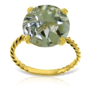 14k GOLD RING 12.0 MM ROUND GREEN AMETHYST